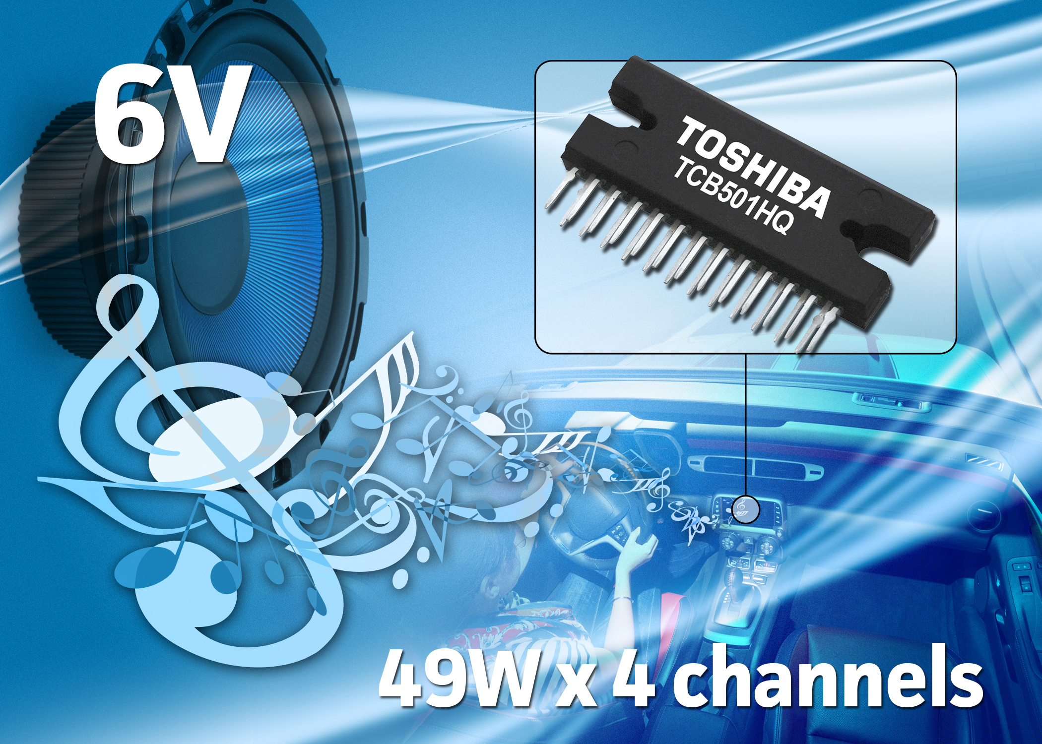 Four Channel Current Feedback Power Amplifier Ic For Car Audio High Circuit 49w Per Automotive Applications The Tcb501hq Provides Output And Low Distortion