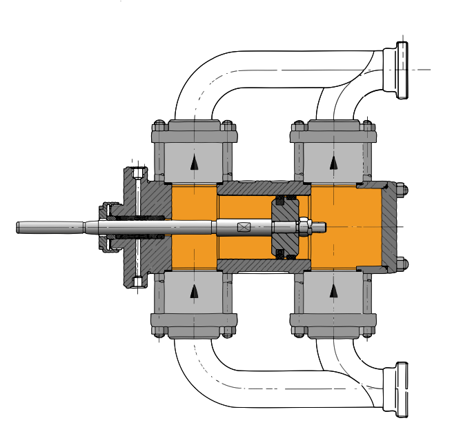 Double acting diaphragm pumps save space engineer live combine two proven technologies to double actiing diaphargm pump head principle of a double acting plunger pump head drawing of a double acting diaphragm ccuart Gallery