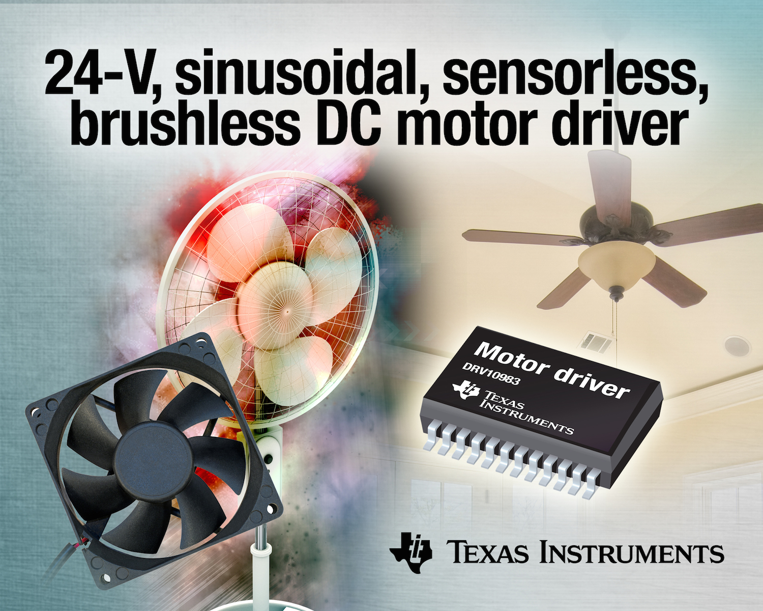 Motor Driver Quietens Noise In Fan And Small Pump Applications Brushless Controller Schematic 2015 Texas Instruments Ti Has Introduced The Industrys First 24 V Sinusoidal Sensorless Dc Bldc