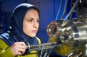 Asieh Kazemi operates the 'nano-factory', which will allow researchers to build new devices onto a single graphene layer (Credit: Nic Delves-Broughton)