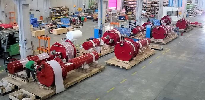 Some of the Rotork pneumatic actuators manufactured in Lucca for the Freeport LNG project