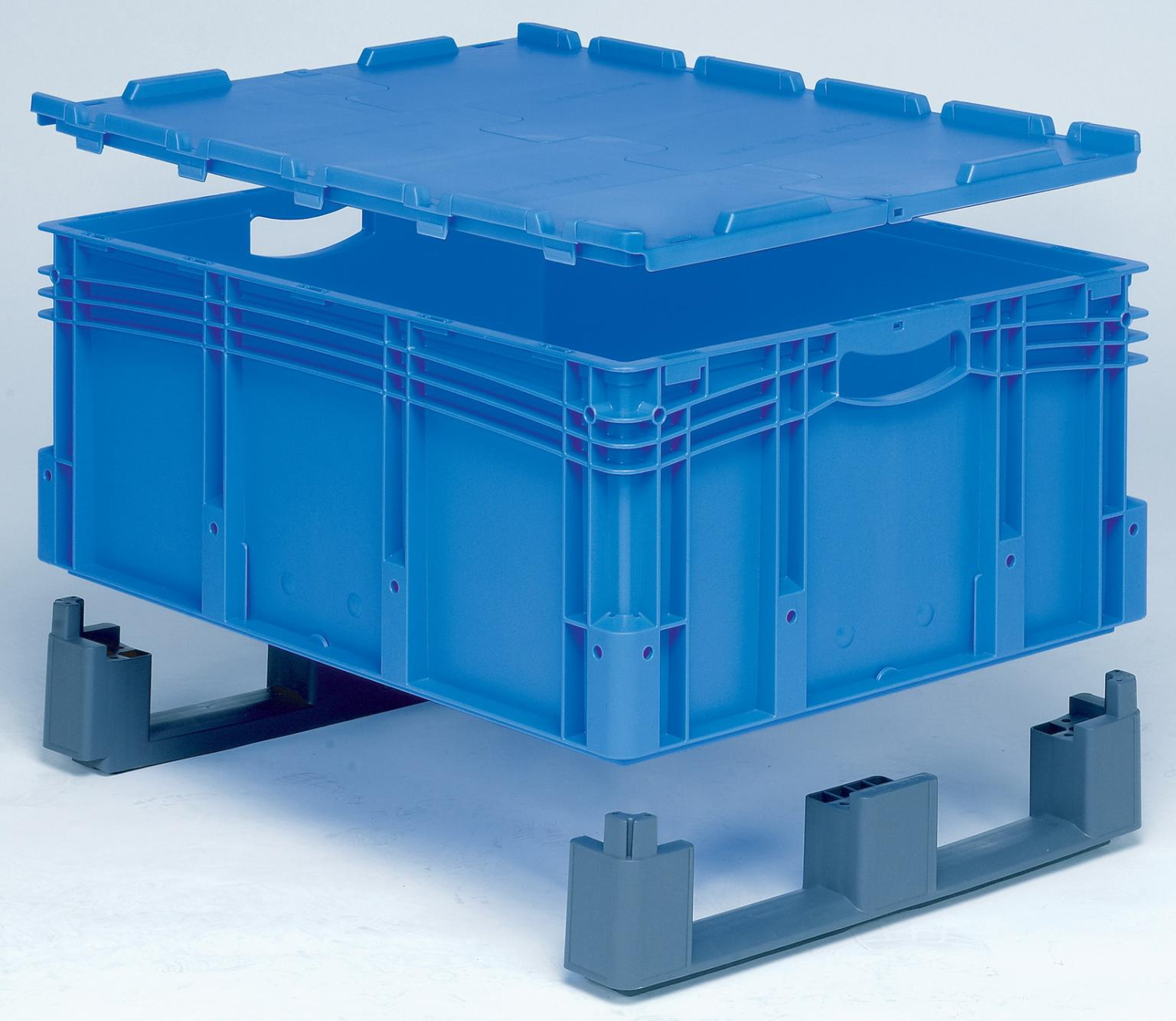 BITO plastic bins can be fitted with fork-entry shoes and hinged flip-top lids