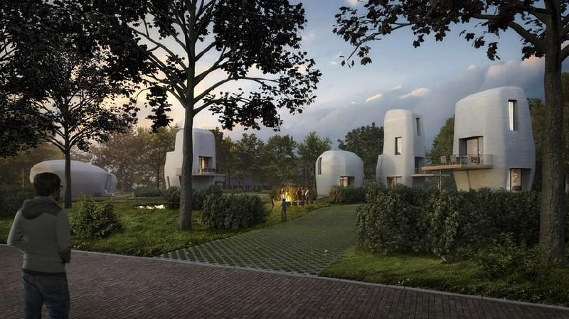 3D printed homes. Image: Houben/Van Mierlo architects