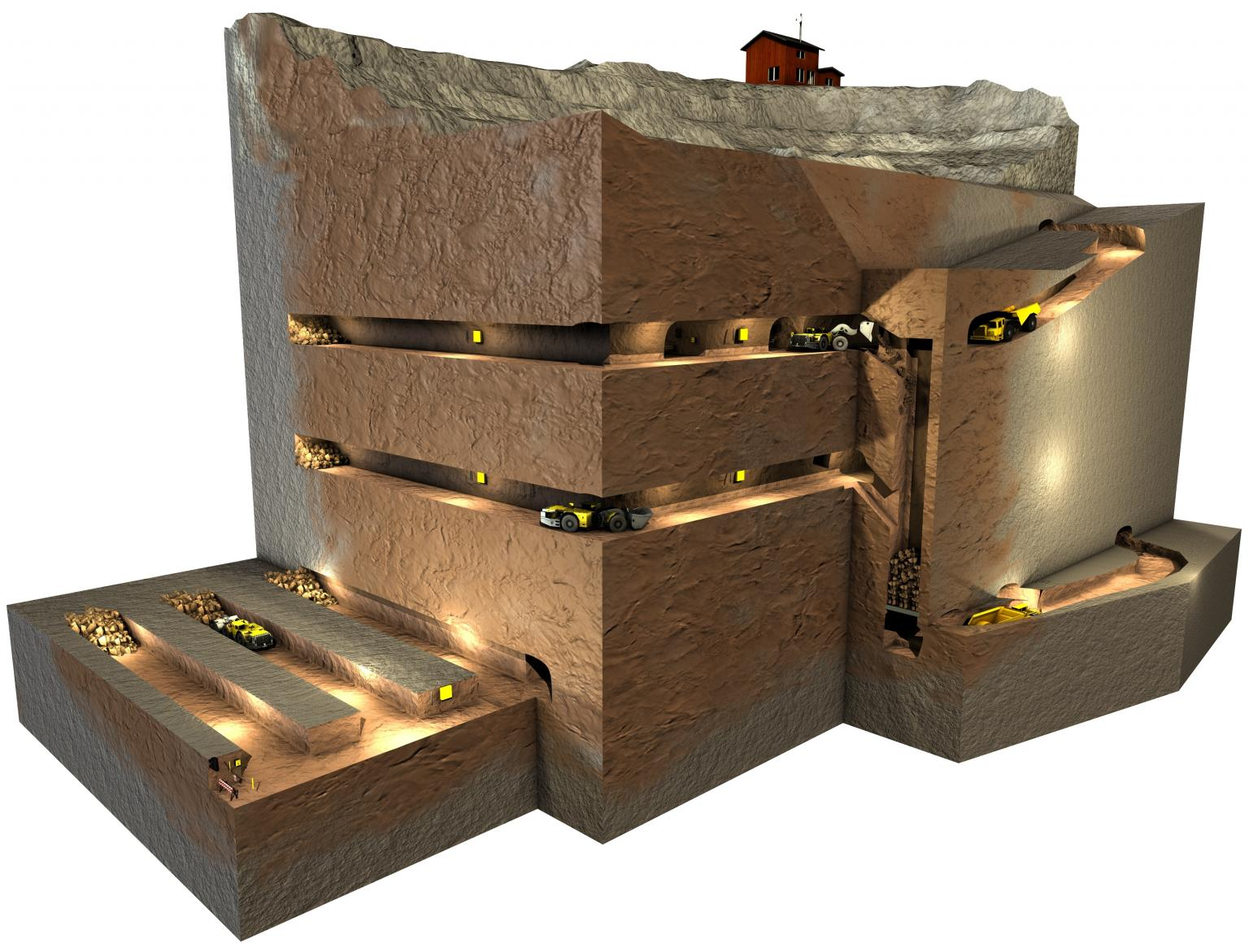Atlas Copco's concept on an underground mine using Scopptram LHDs operated by automation from the surface