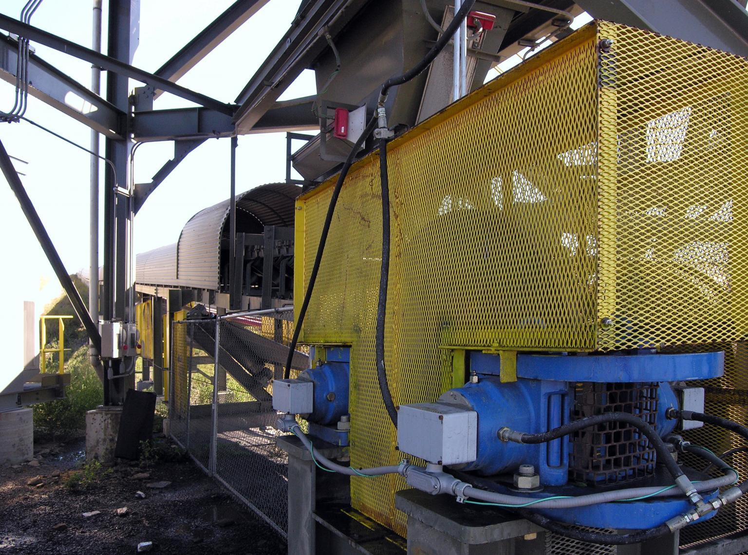 Twiflex VKSD spring applied, hydraulic released brake units fitted on copper mine conveyor in Tasmania, Australia