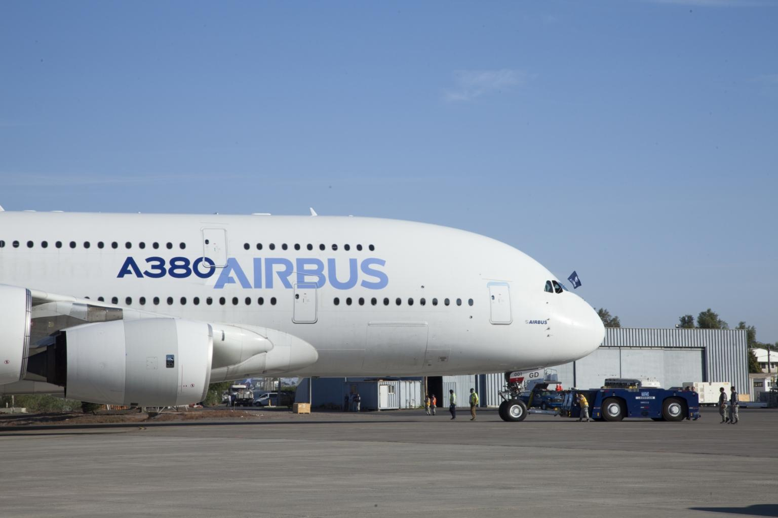 The Airbus A380 is the largest passenger aeroplane currently in series production. Its doors are large and too heavy for manual closing (Image courtesy of Airbus)