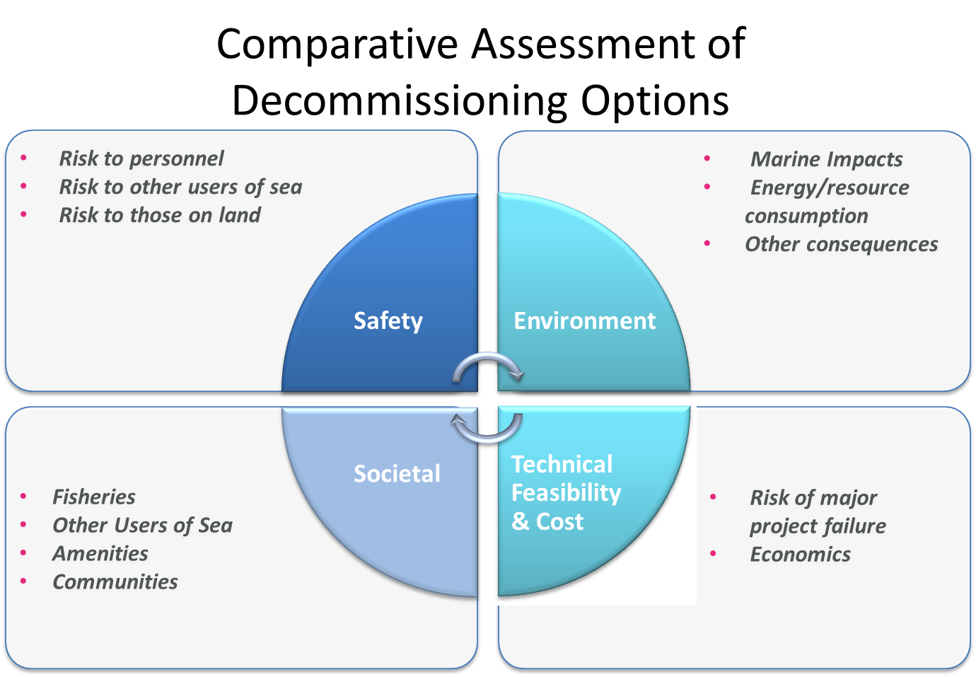 Assessing the decommissioning options