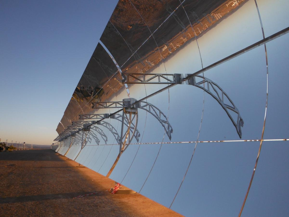 Sunlight shines on the 12m high parabolic mirrors at Ouarzazate