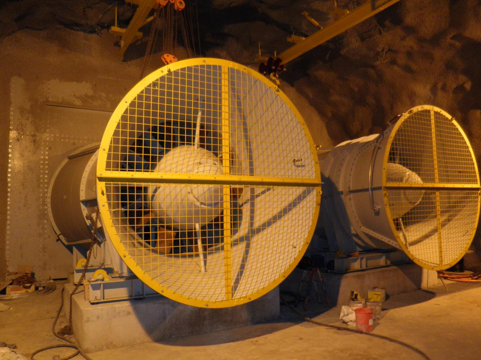 A dual axial flow fan installation installed by CPC Engineering for Howden Australia to the Hamlet Decline, eastern Goldfields, St Ives, Australia