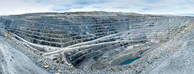 Overview of the open-pit copper mine at Atik