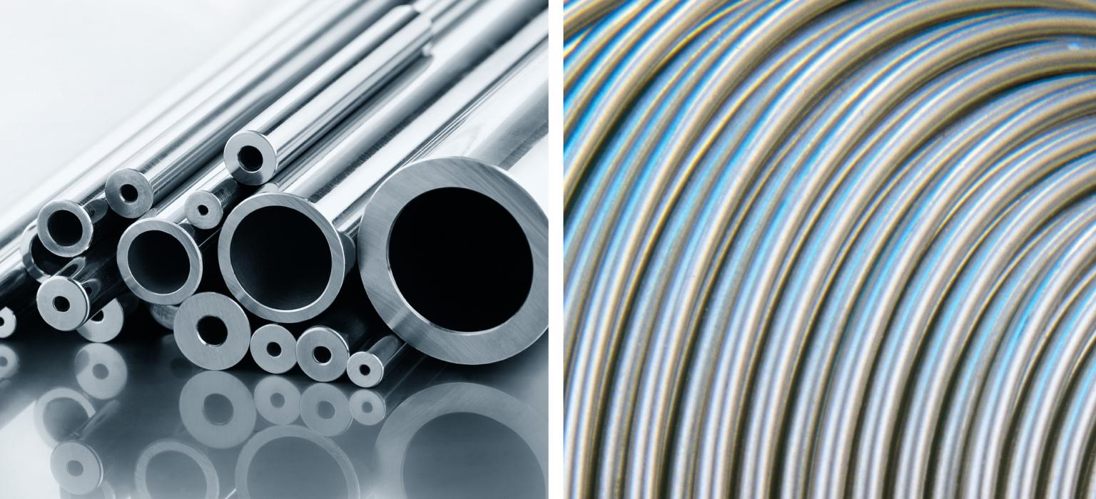 Straight length, precision tubing is produced for instrumentation equipment as well as onshore control panels (left). Coiled tubing is made for downhole hydraulic control and chemical injection lines (right)