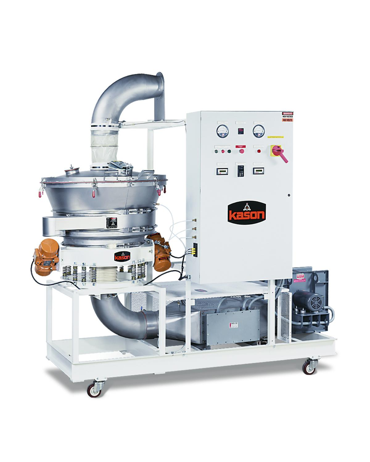 Kason's fluid bed agglomerating system combines a vibrating circular fluid bed processor with integral agglomeration spray system, air heater, blower, and controller on a castor-mounted support stand