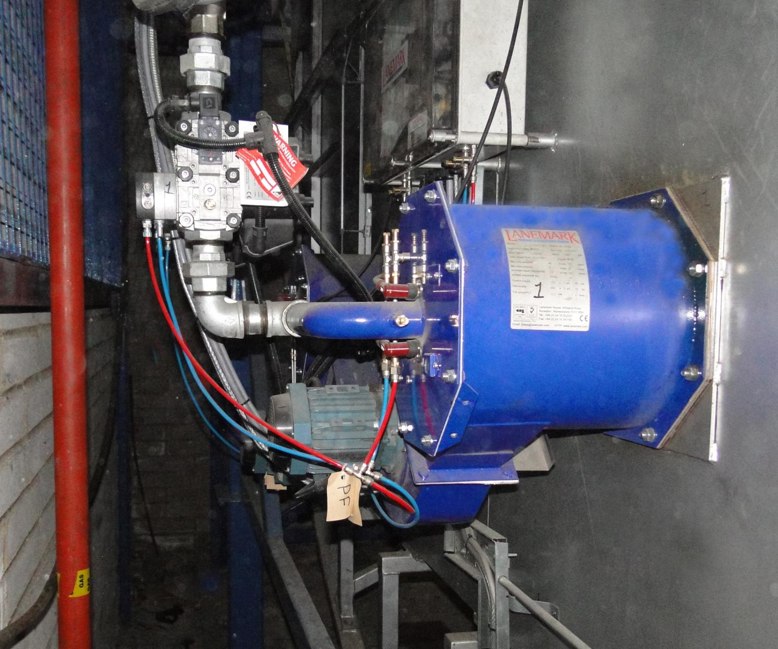 One of the FD process gas burner systems fitted to the rock-and-roll rotational moulding facility