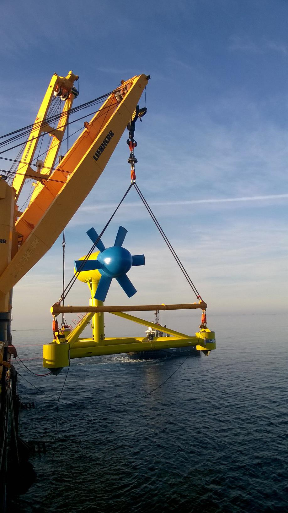 Deployment of tidal turbine in the Fromveur Passage. Photo: Sabella