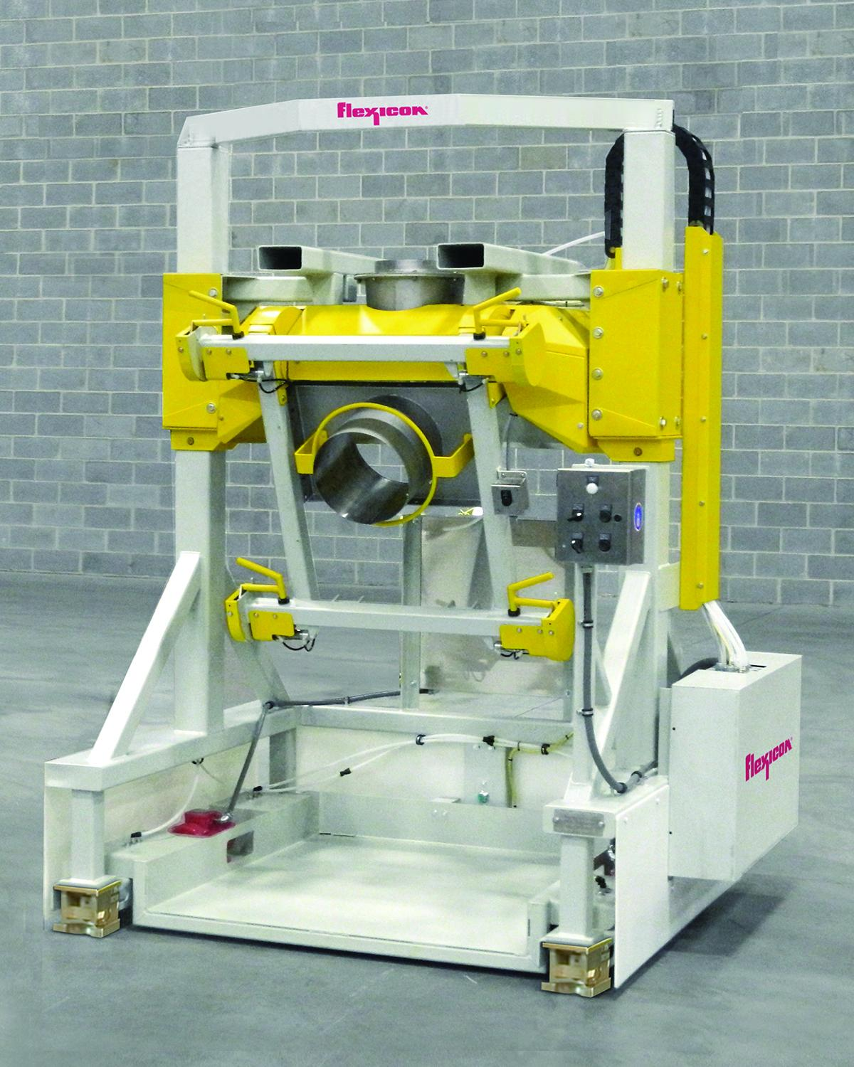 Flexicon's Rear-Post Bulk Bag Filler with Swing-Down fill head and low profile deck allows safe, rapid spout connections and removal of filled bags using a pallet jack