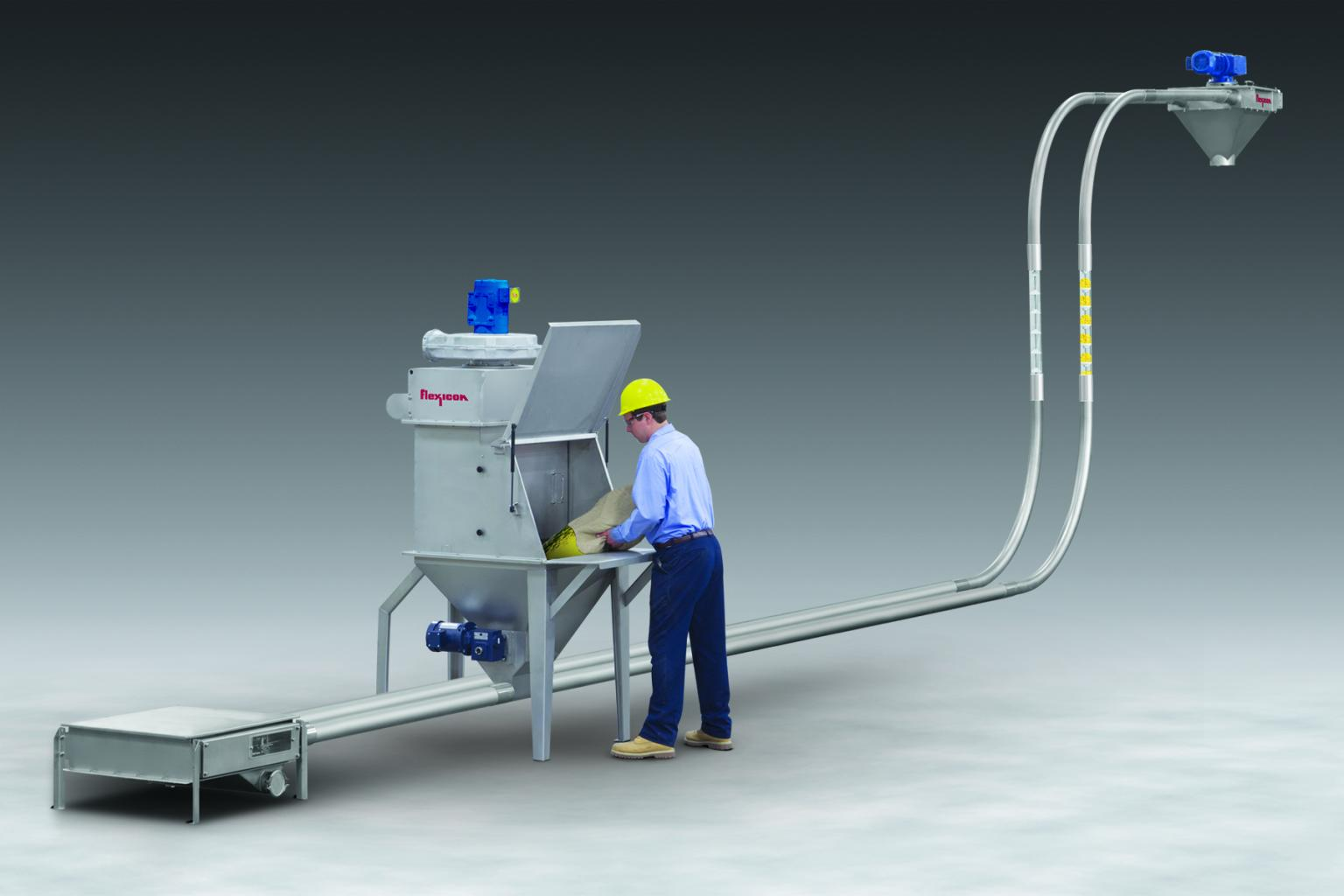 Flexicon Manual Dumping Station with integral FLEXI-DISC Tubular Cable Conveyor contains dust and conveys friable bulk foods and non-foods gently over short or long distances