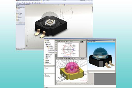 The geometry of the Philips Lumileds K2 LED was modelled in SOLIDWORKS using LightTools