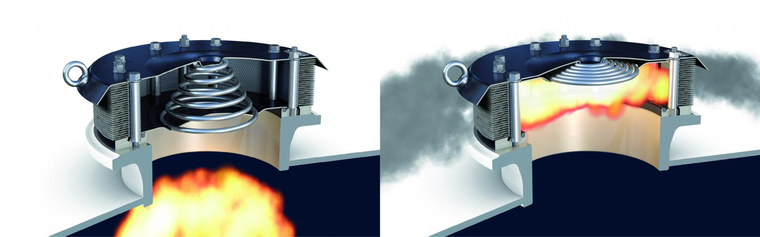 The HOERBIGER EVN2.0 relief valve. Immediately prior to activation (left) and fully open (right)
