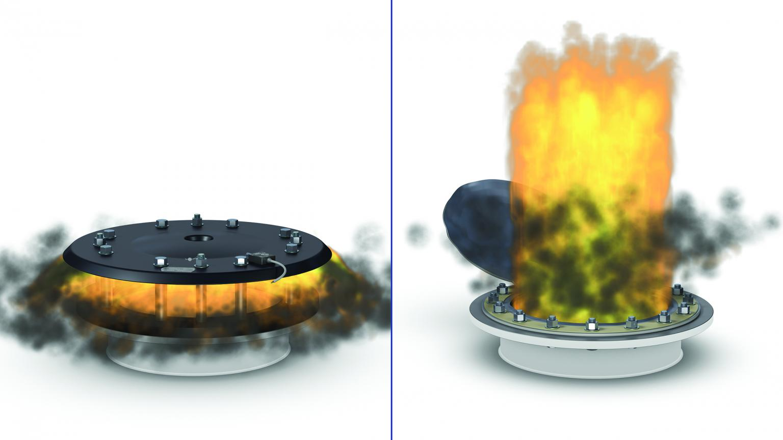 A recloseable HOERBIGER EV-type relief valve with reduced flame length (left) and a conventional bursting panel (right)