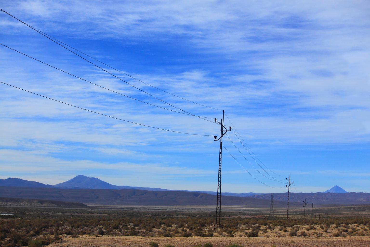 Electricity distribution lines at altitude in Bolivia