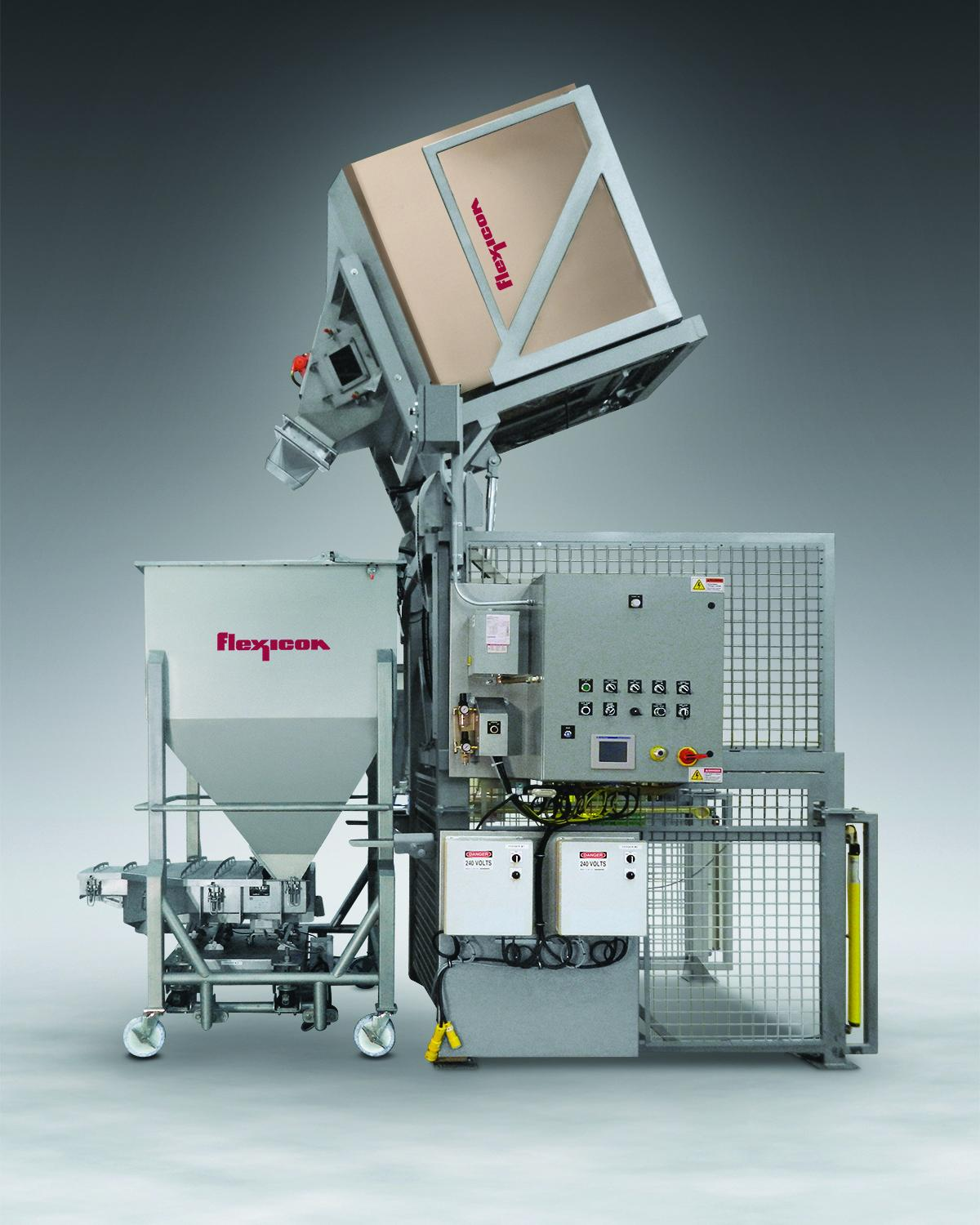Flexicon's TIP-TITE Bulk Transfer System moves material from boxes into a mobile bin with vibratory feeder, dust-free