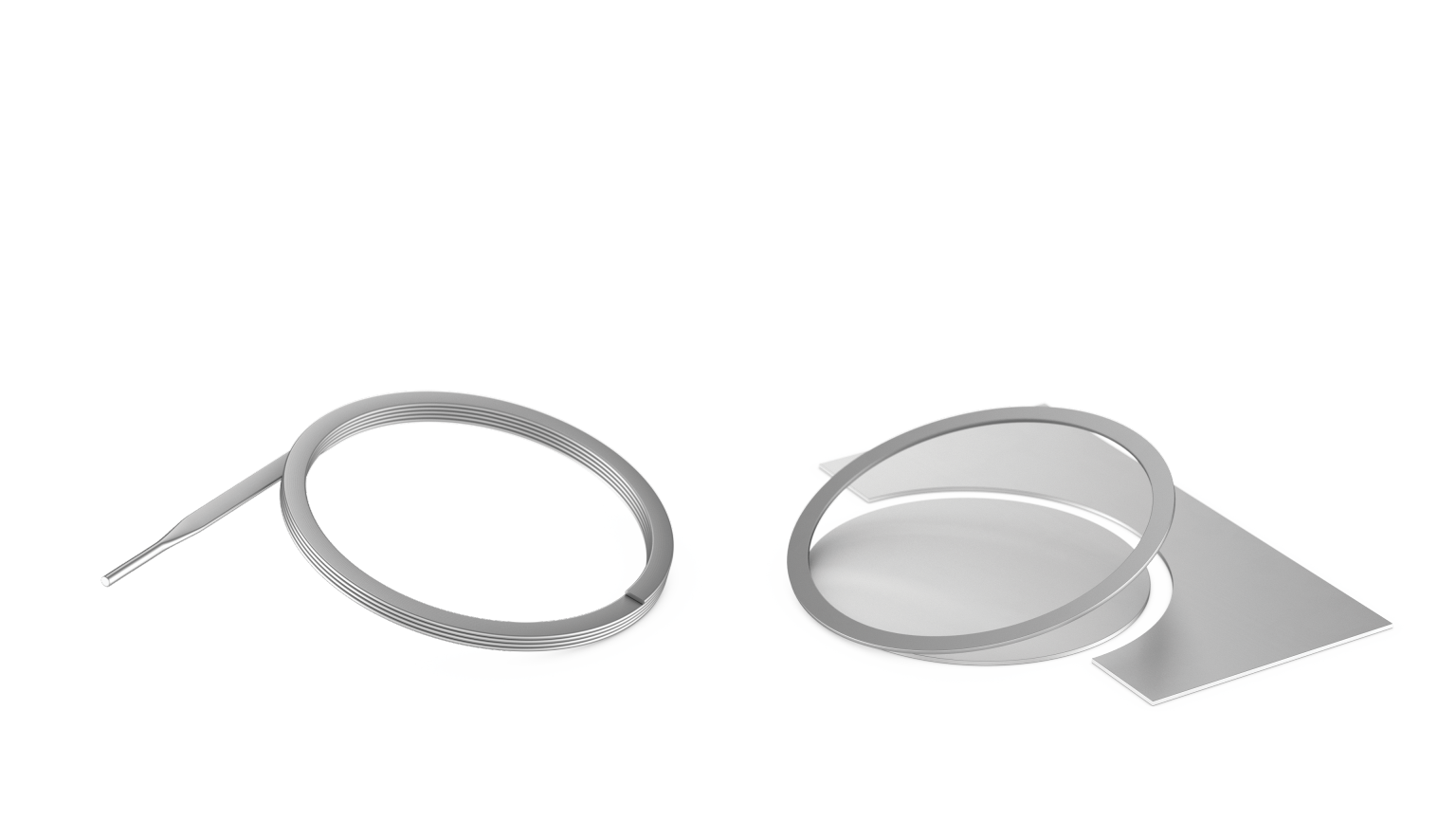 On the left is an edgewound retaining ring and on the right is a traditional stamped retaining ring