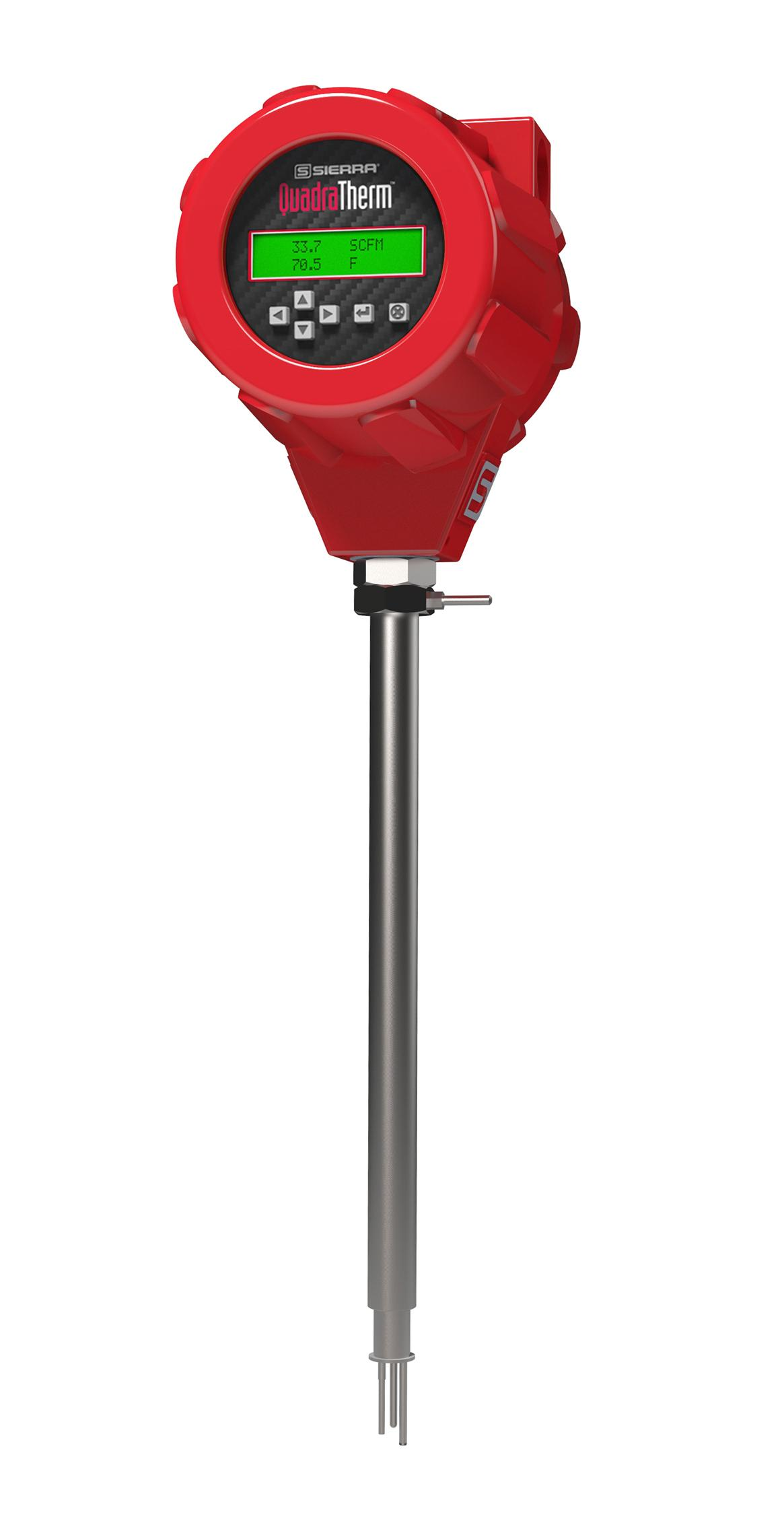 Insertion-probe quadratherm mass flow meter
