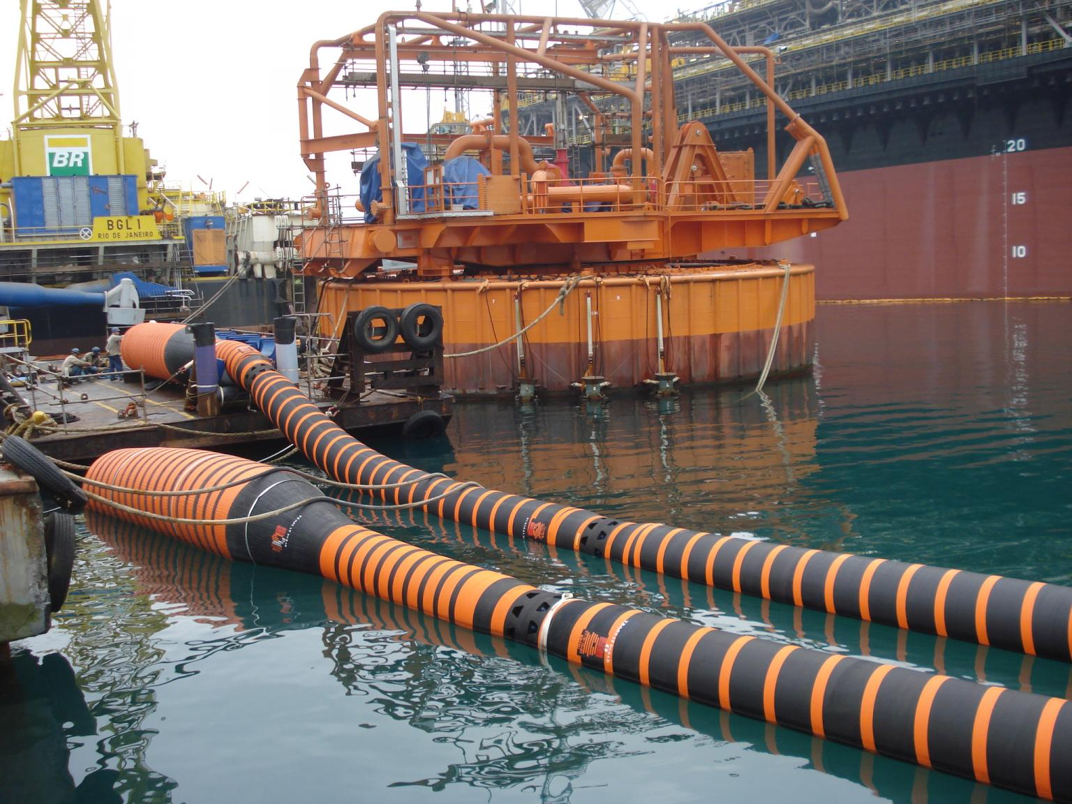 Floating hoses connected and ready for final installation
