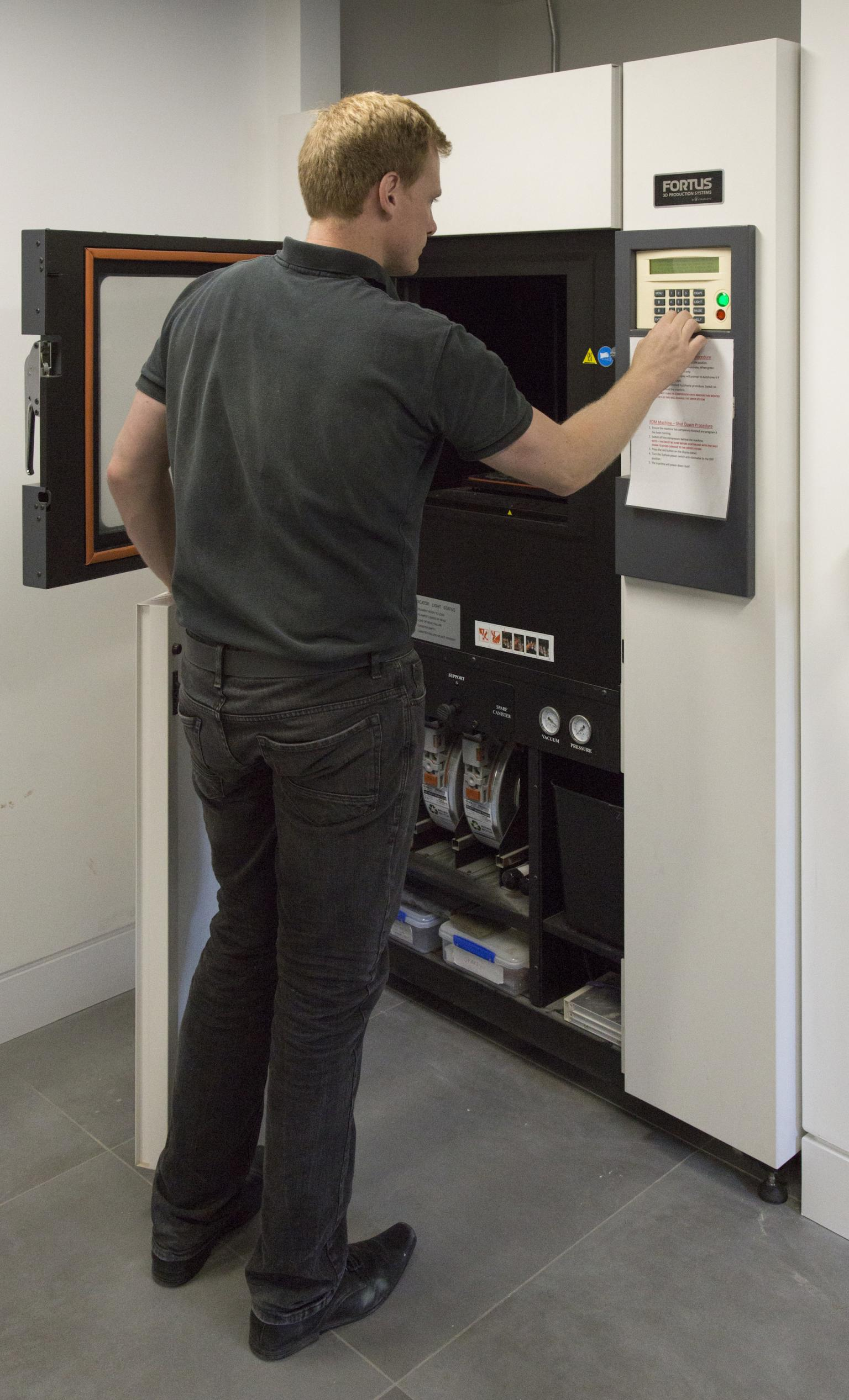 3D printing being performed using a Fortus printer from Stratasys