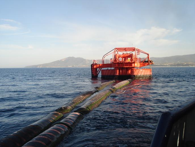 Hoses connected to CALM buoy configuration