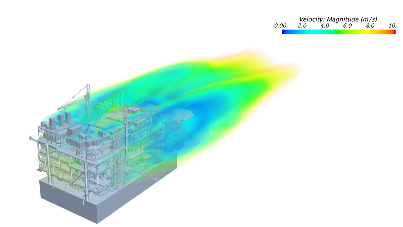 Flow simulation results using full-featured CFD model