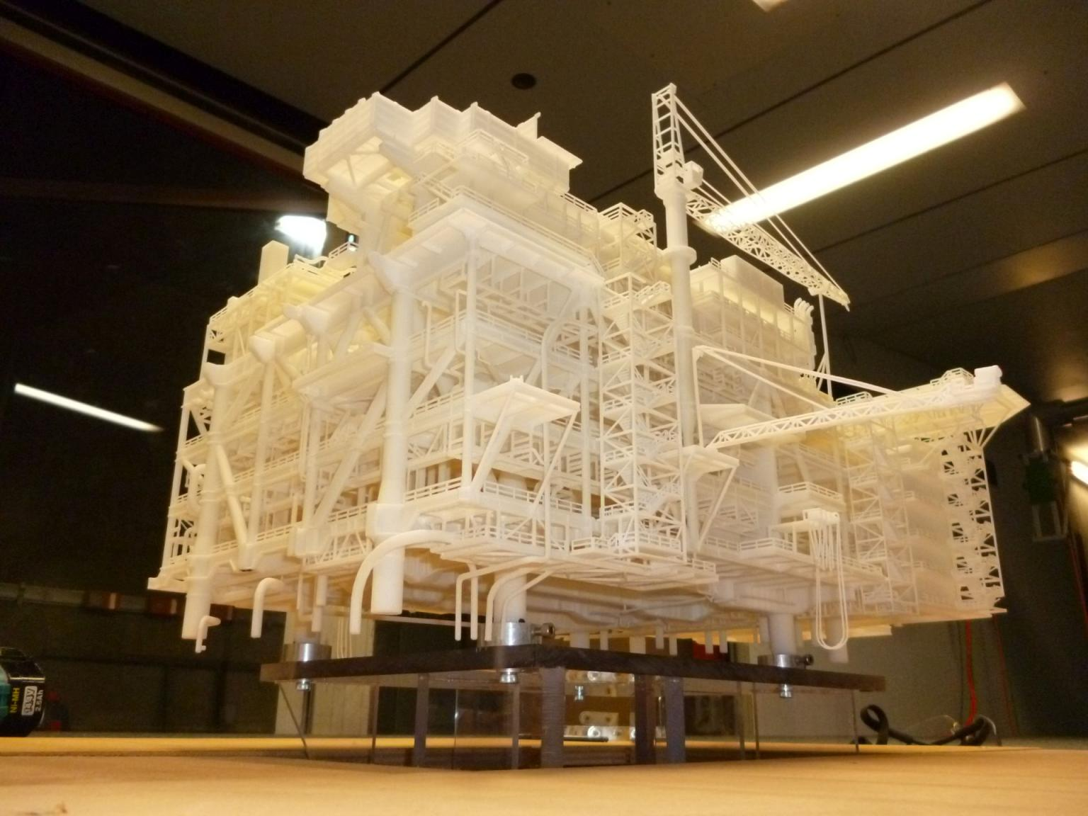 Full-featured 3D printed model used in wind tunnel and wave-basin testing