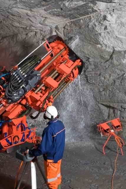 One of Sandvik's DL range of long hole production drilling rigs, the DL410, with remote control