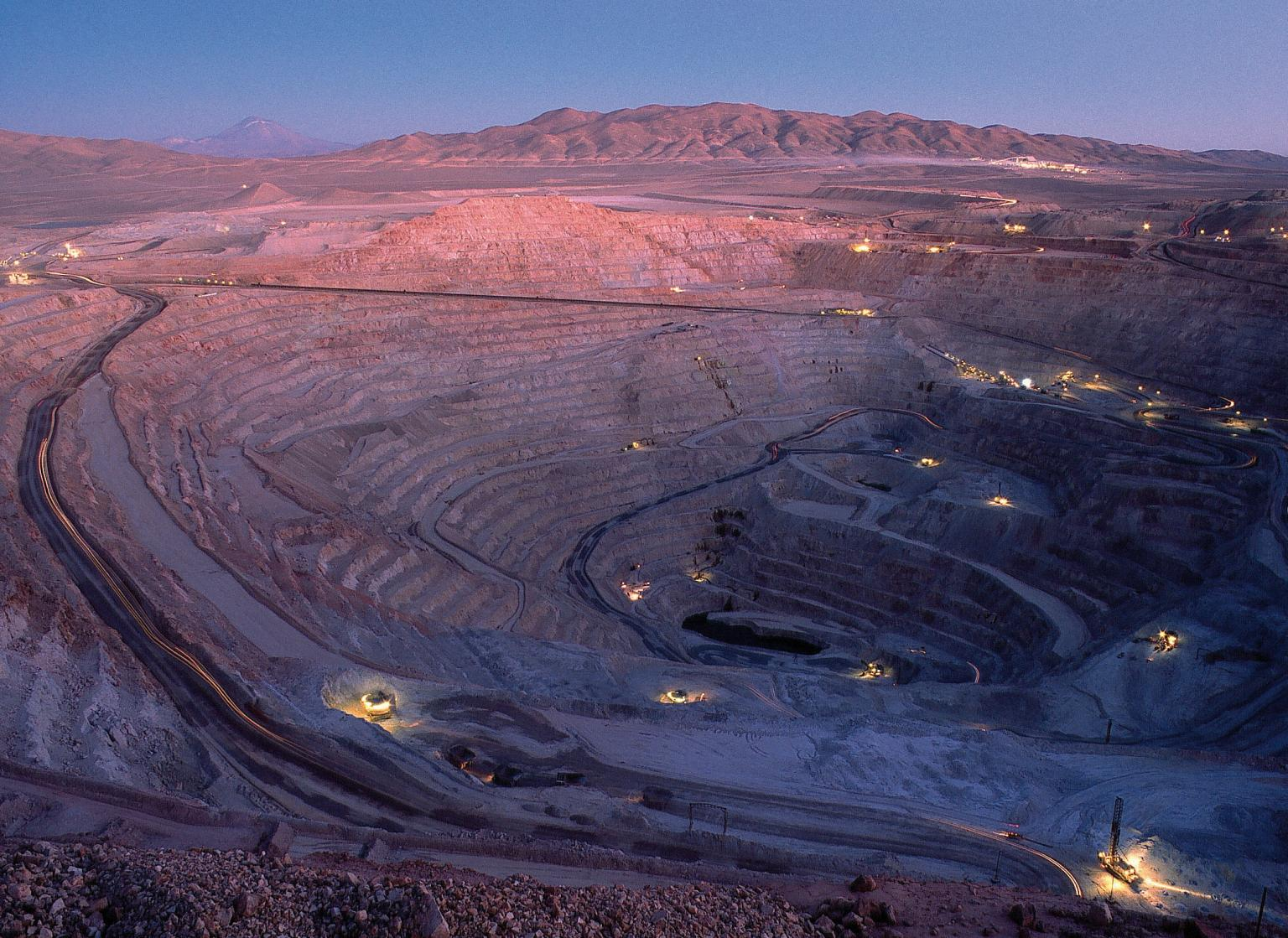 Escondida open pit at night