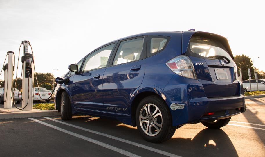 Blue Honda electric car