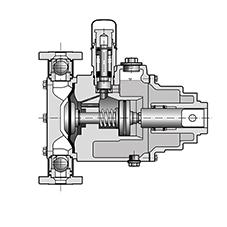 The spring integrated in the M9 pump head also supports the suction movement. This allows the unit to draw in fluids at a pressure of up to 1 bar despite the diaphragm pump design
