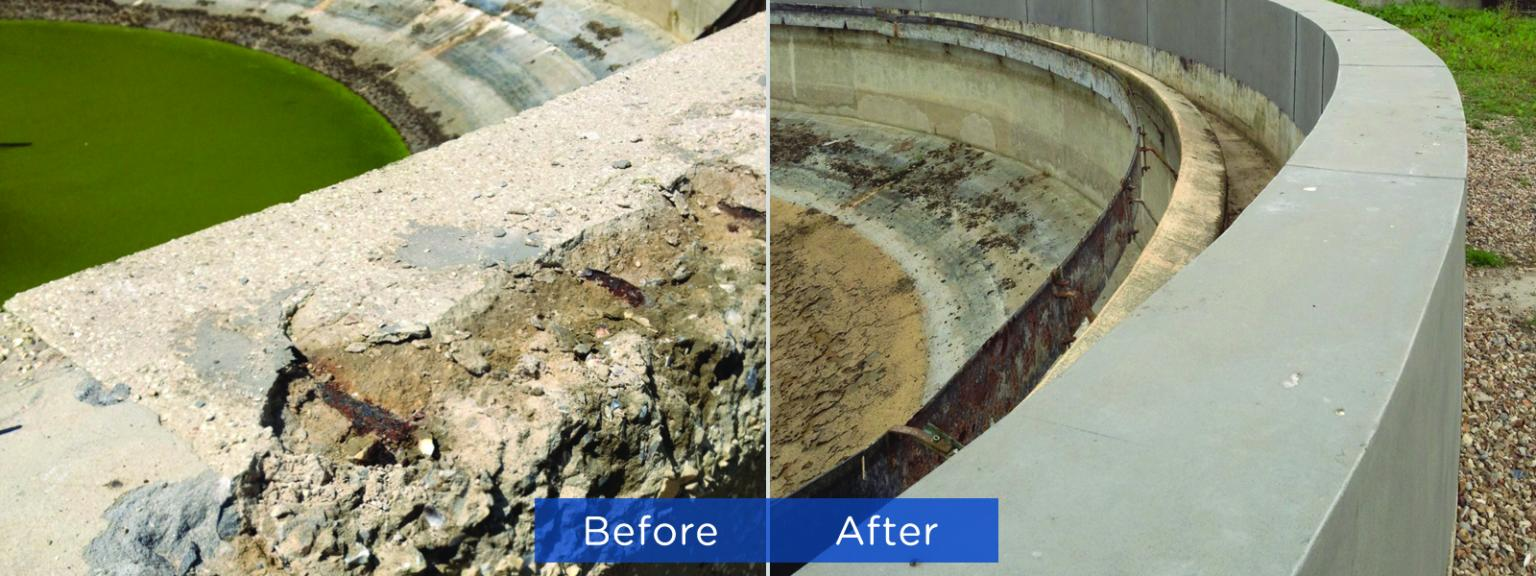 Tank wall repaired and protected with Belzona epoxy materials