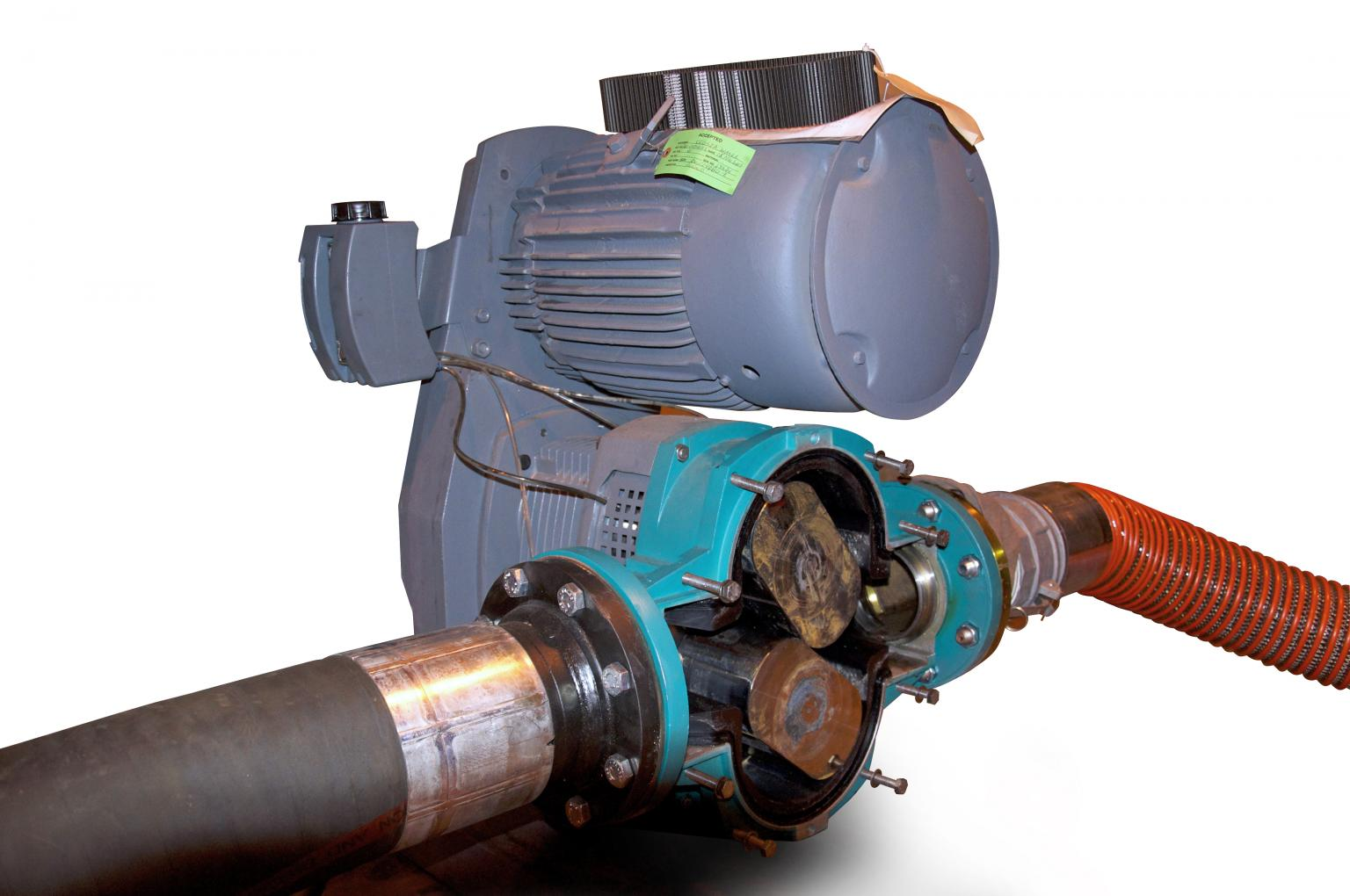 The Tornado T2 rotary lobe pump is used in operations in the sludge transfer line