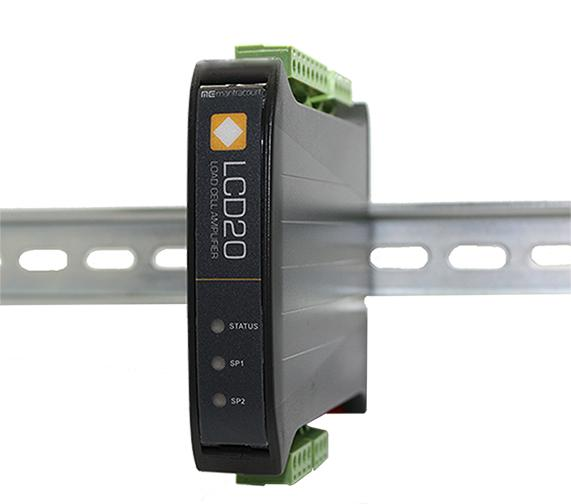 Compact and stackable microprocessor-based load cell DIN rail mounted signal amplifier