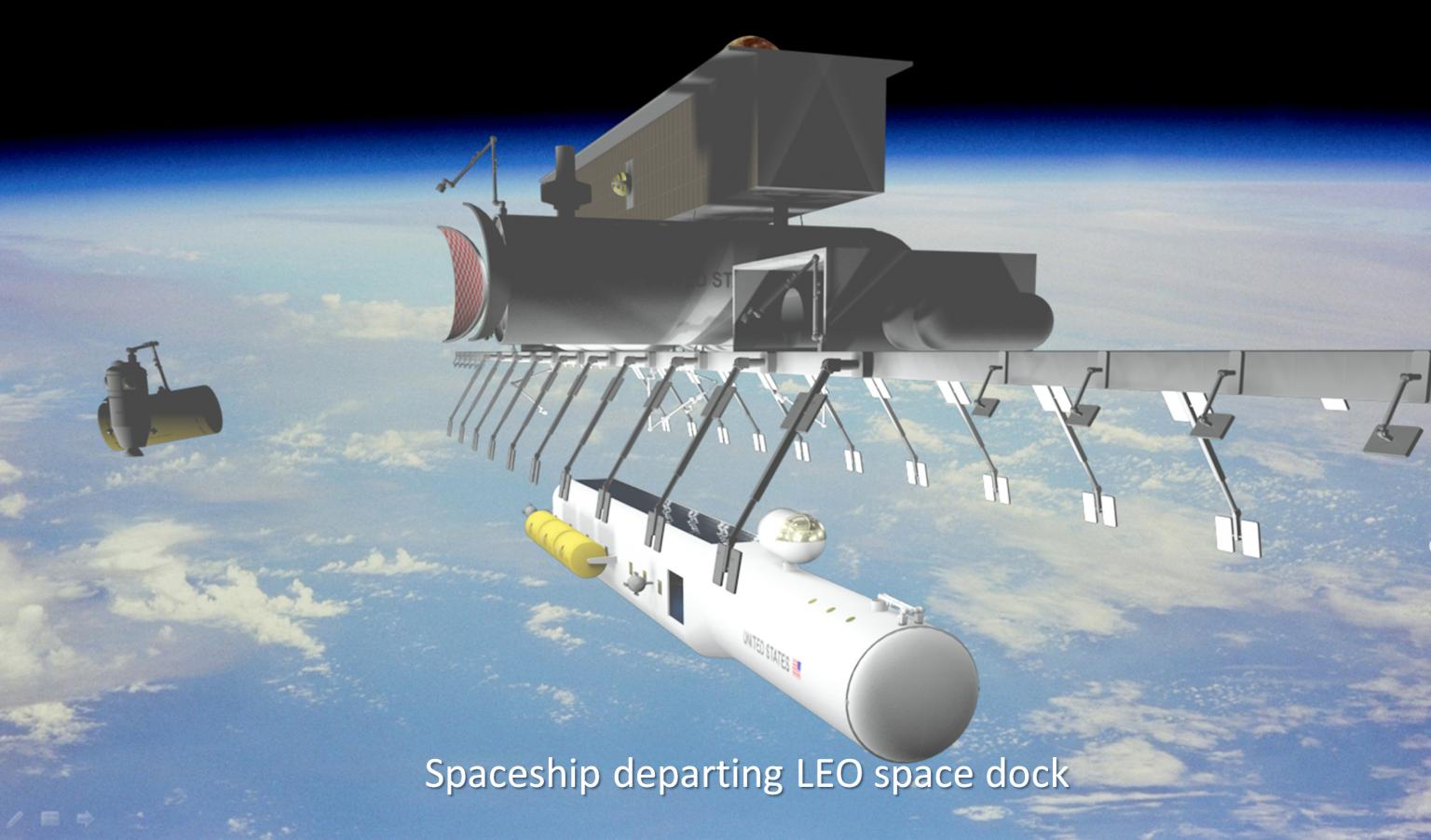 This image shows a large manned spaceship departing a space dock attached to an orbiting space logistics base. Both the crewed portion of the spaceship (the cylindrical portion) and the space hangars (with doors open) and habitat of the space base will require micrometeoroid protection. These structures are about 10 metres in diameter. Image credit: Spacefaring Institute