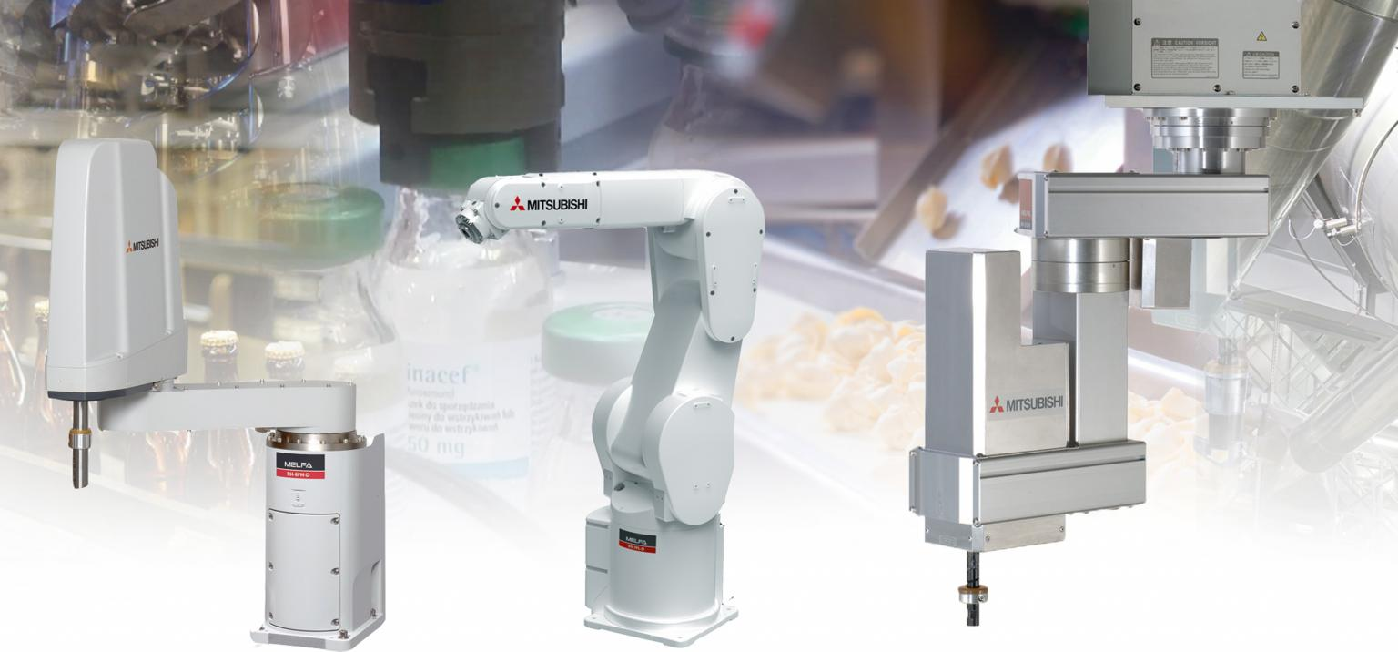 Mitsubishi Electric has recently introduced a new family of robots – the F-Series – aimed at the food and other hygienic industries. Source: Mitsubishi Electric Europe B.V. Automation Systems Division, UK