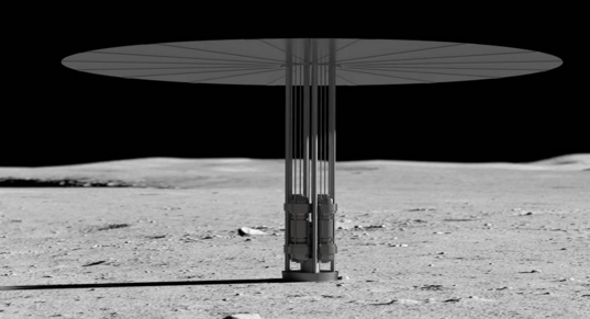 Artist concept of new fission power system on the lunar surface. (NASA)