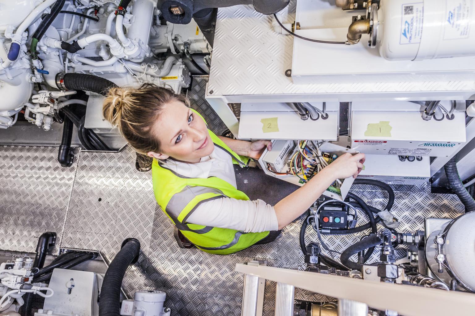 Olivia Richards-Smith, apprentice Marine Engineer at Sunseeker International. Image: Richard Tarr