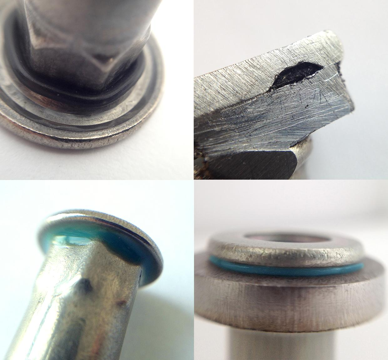 Top left: HX rivet nut head details. Top right: cut off image compressed HX seal after setting. Bottom left: applied under head HDPX seal. Bottom right: robust HDPX seal between matting surfaces