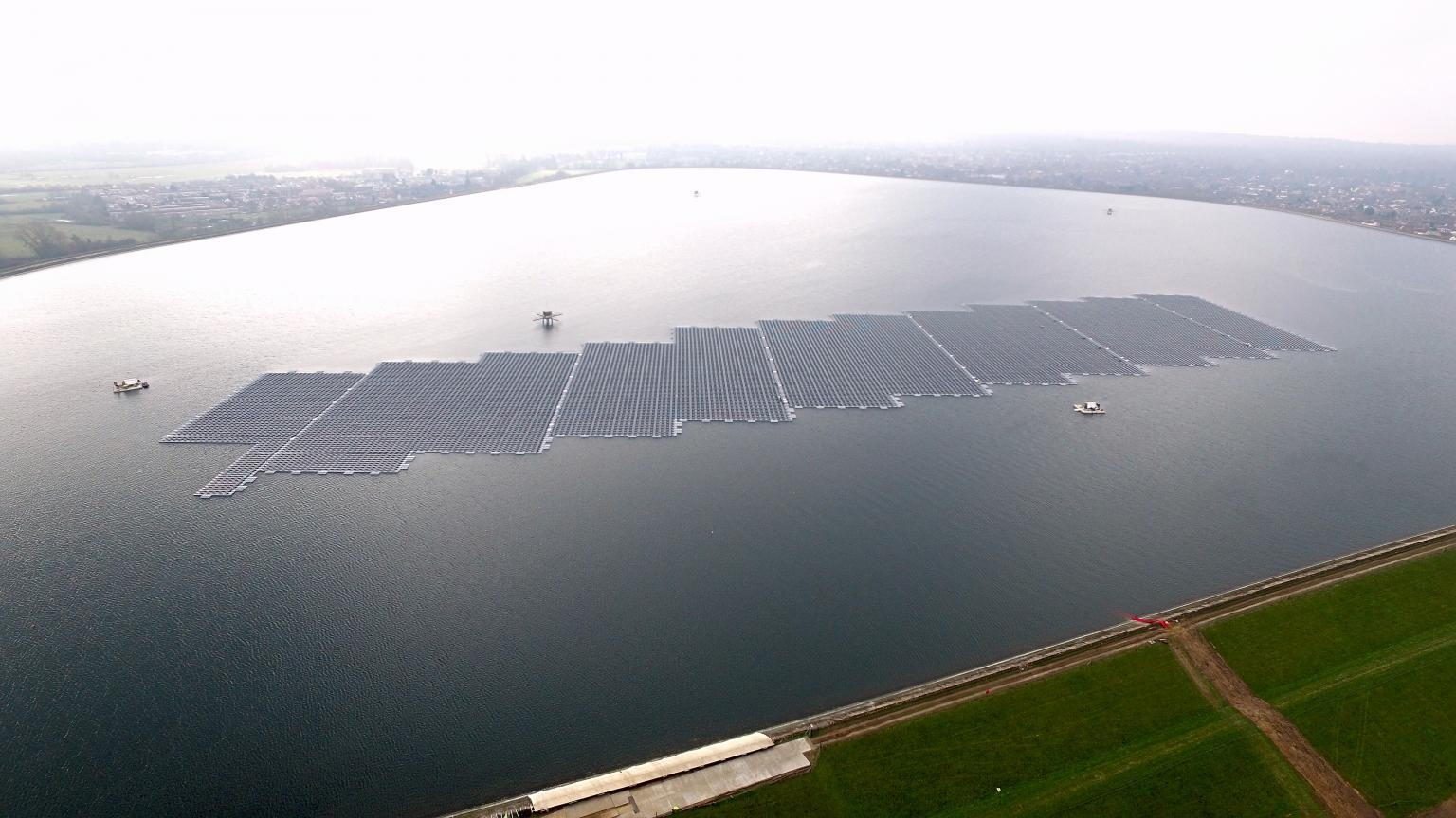 More than 23,000 solar photovoltaic (PV) panels are being floated on the reservoir