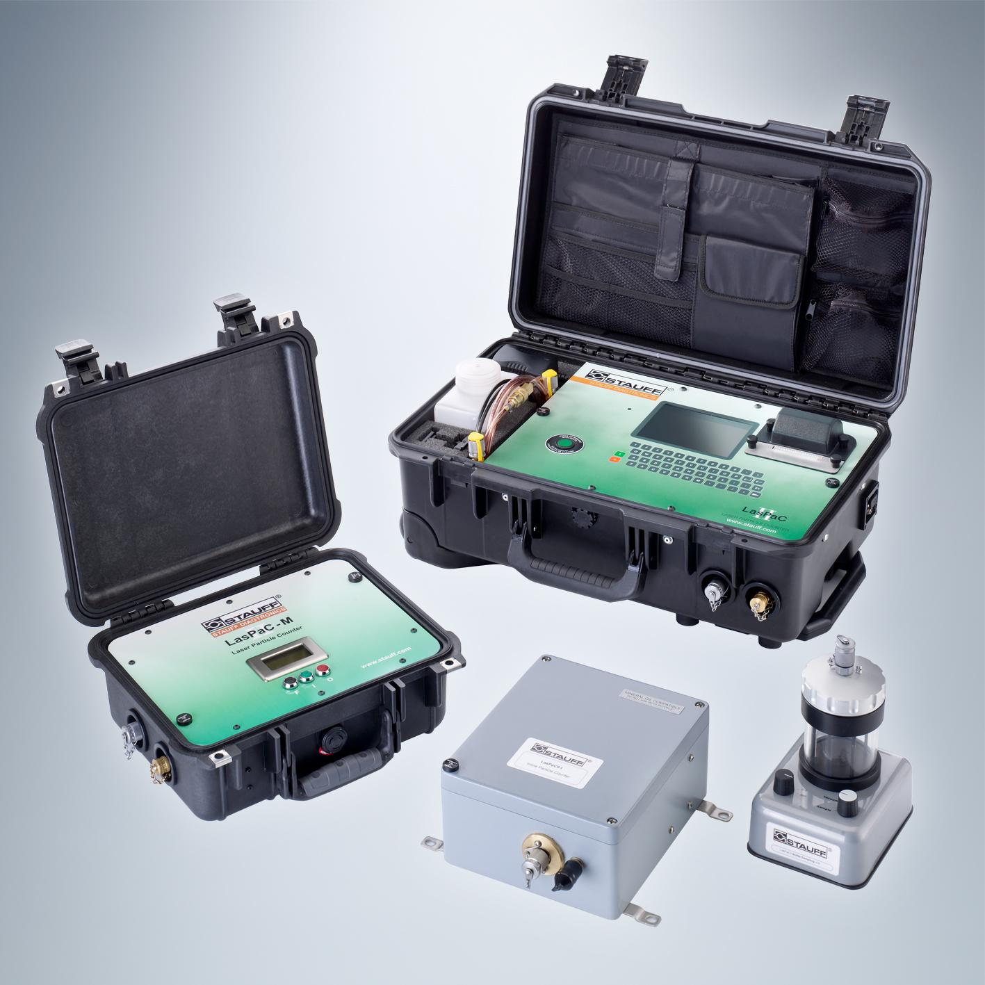 Available types of LasPaC II-I Laser Particle Counters: Mobile, Portable and Inline.  Photo: Walter Stauffenberg GmbH & Co KG