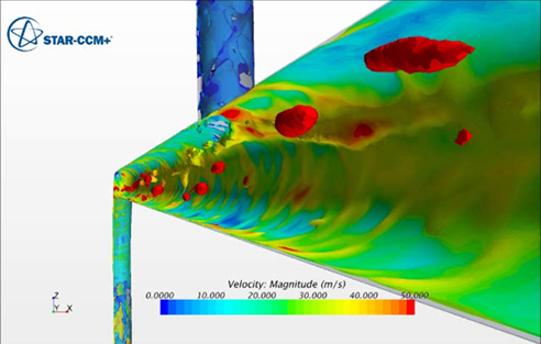 Fig. 2. Contours flow speed on gas-liquid interfaces clearly shows a layer of liquid along the pipe walls and some dispersed (large) droplets in the flow