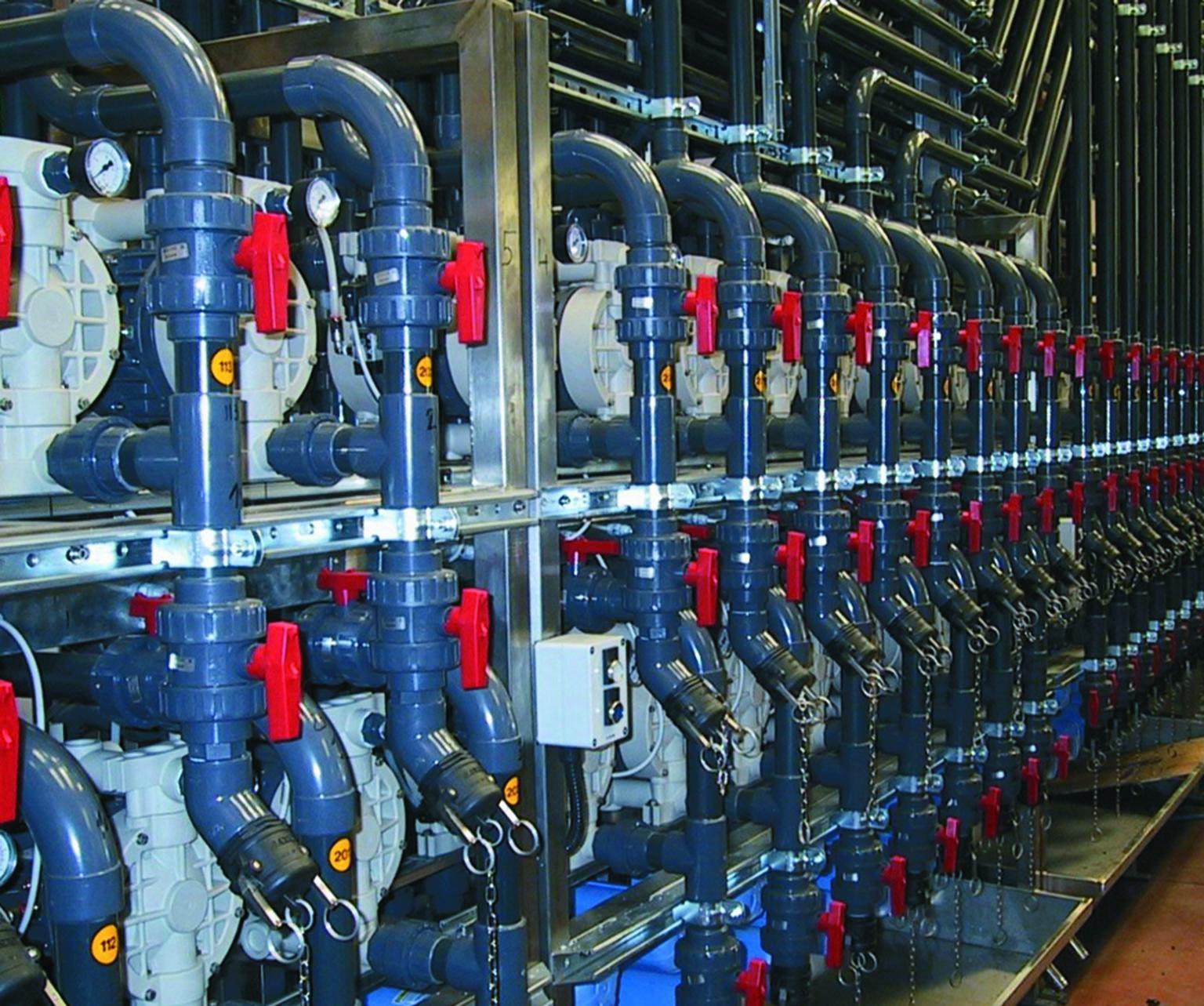Pump line-up serving several processes