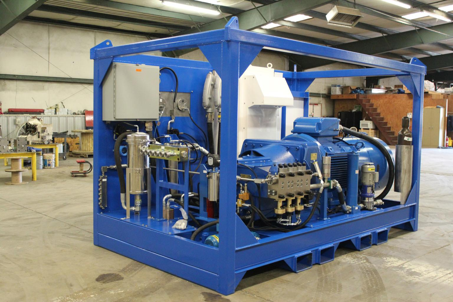 RMI designed the steel frame of the test rig around its Trimax S250 high pressure pump