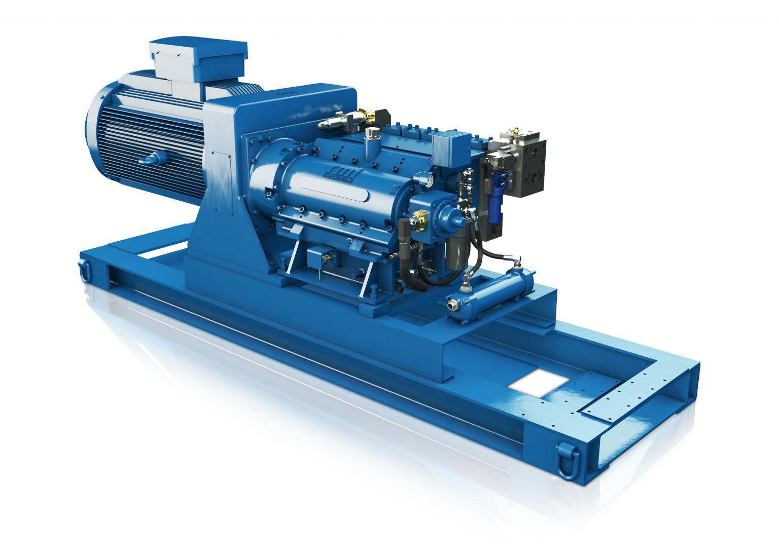 High pressure pumps, such as the S500 from RMI, provide hydraulic power to the roof support systems